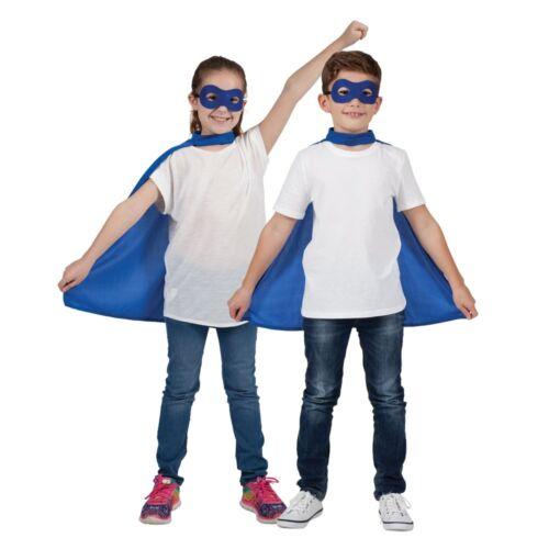 Kids Girls Boys Superhero Cape Eye Mask Fancy Dress Comic Book Week Outfit