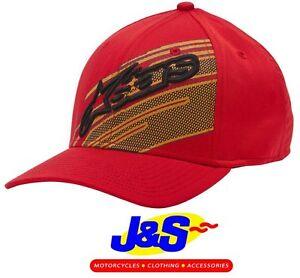 ALPINESTARS STARKS CURVED HAT RED MENS CAP FLAT PEAK NEW MOTORCYCLE SALE J/&S