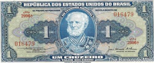 1954-58 Note Brazil 1 Cruzeiro Portrait M Crisp UNC P-150c de Tamande