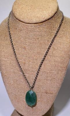 Selbstlos Vintage Silberton Grün Original Stein Anhänger Auf 46cm Kette Hoher Standard In QualitäT Und Hygiene