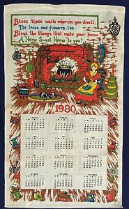 1980-Calendar-Vintage-Retro-Souvenir-Unused-LINEN-Tea-Towel-Blessing-Sweet-HOME