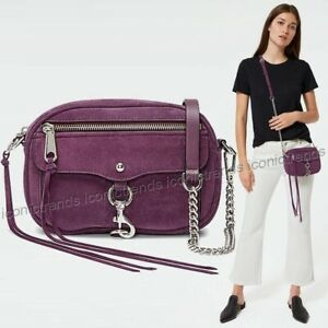 NWT-Rebecca-Minkoff-Blythe-Suede-Crossbody-Blackberry-Purple-Silver-Hardware
