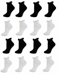 Grls Women Frilly Lace fen Top Cotton TRAINER Ankle Anklet Socks Black White