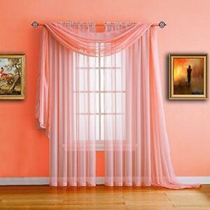 Pair Of Long Length Coral (Orange Pink) Sheer Window Curtains. Each Voile Drape 767408193573   eBay