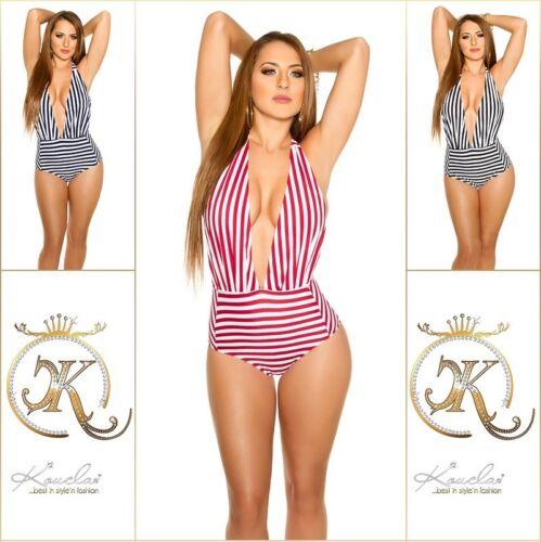 Damen Monokini  Beachwear Badeanzug Bikini gestreift