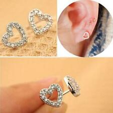 Orecchini Donne Moda Argento Placcato Cuore Strass Cristallo Ear Studs Earrings