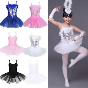 104091ca3 Girls Kids Ballet Dress Leotard Tutu Skirt Ballerina Dancewear Swan ...