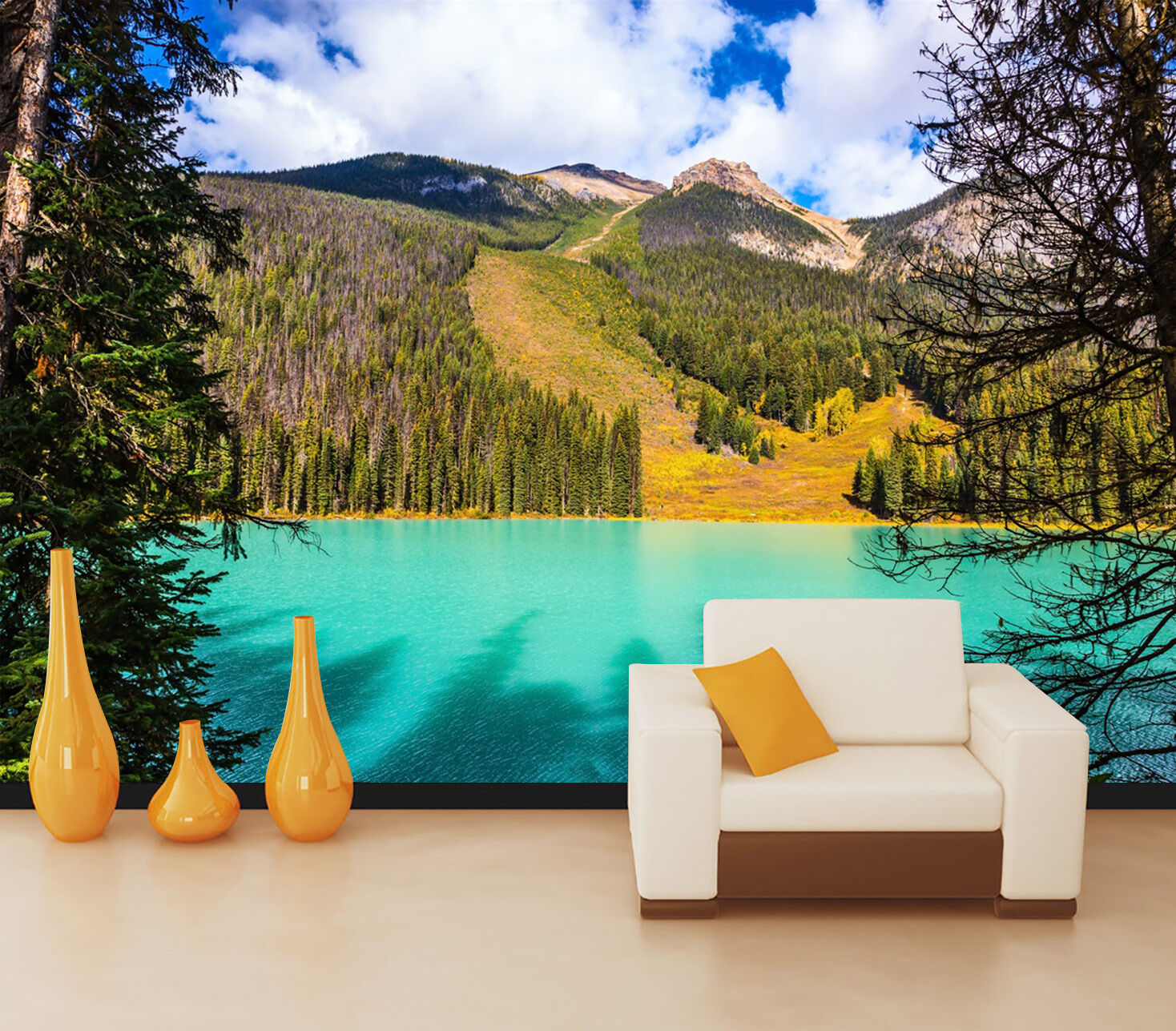 3D lake mountain broad green Wall Paper Print Decal Wall Deco Indoor wall Mural
