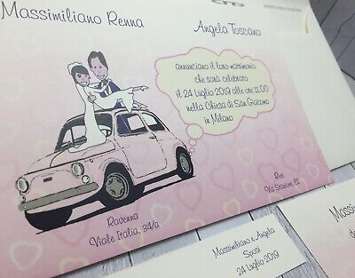 Partecipazioni Matrimonio Con Fiat 500.Partecipazioni Nozze Inviti Matrimonio Sposi Buonanno N003 Ebay