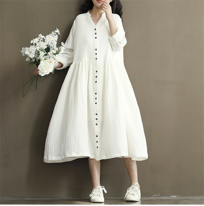 Spring Women Pure Color Long Sleeve Mori girl Loose Single Breasted Linen Dress