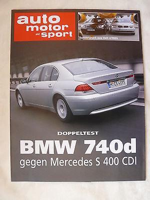 Sonderdruck Auto Motor & Sport Heft 2/2003 Bmw 740 Mercedes S 400 Doppeltest
