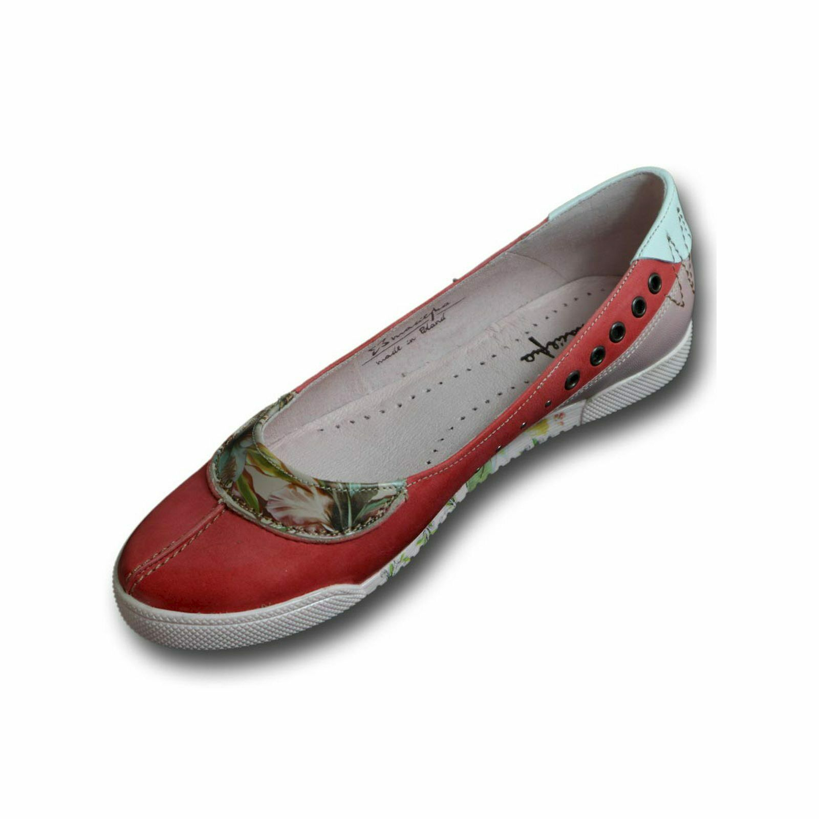 Bailarina para donna MACIEJKA, rosso, estampado floral, costuras decorativas