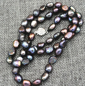 25inches-Rare-9-10MM-black-Akoya-Cultured-Pearl-Baroque-Necklaces