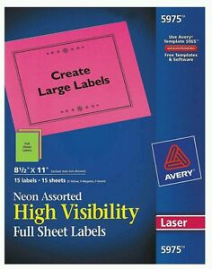 avery multi color neon laser labels 5975 full sheet 8 1 2 x 11 15
