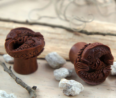 Hand Made Crafted Carved Sawo Wood Fish Pisces Tunnel Ear Plug 0g - 7/8g