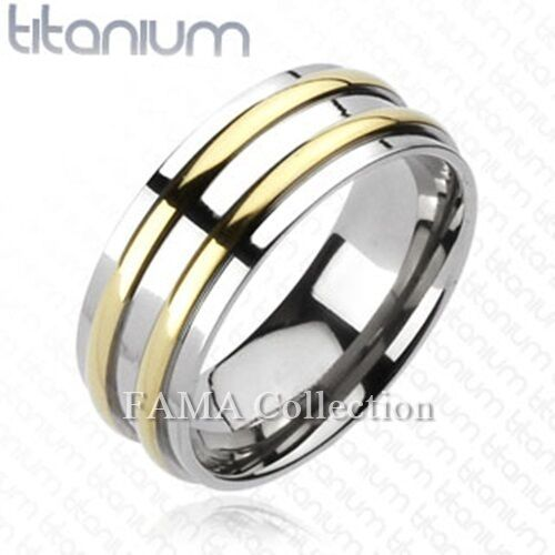 FAMA Solid TITANIUM Double Gold IP Round Stripe Band Ring Select Size