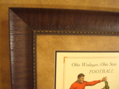 VINTAGE OHIO STATE BUCKEYES VS OHIO WESLEYAN COLLEGE FOOTBALL PROGRAM  FRAMED