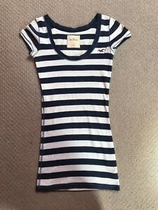 Womens-Hollister-Blue-And-White-Stripe-Tshirt-Size-XS