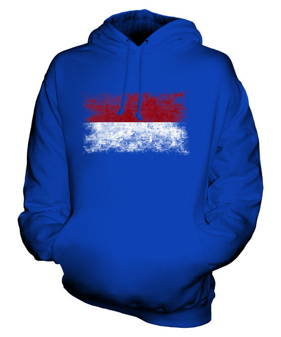 INDONESIA DISTRESSED FLAG UNISEX HOODIE TOP INDONESIAN  FOOTBALL JERSEY