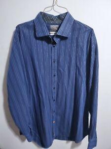 Thomas-Dean-Men-039-s-Blue-Striped-Dress-Shirt-XXL-Long-Sleeve-Flip-Cuff