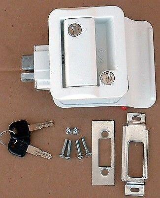 FIC White RV Entry Door Lock Handle Knob W/ 2 Keys   Hf301 Camper Travel  Trailer | EBay
