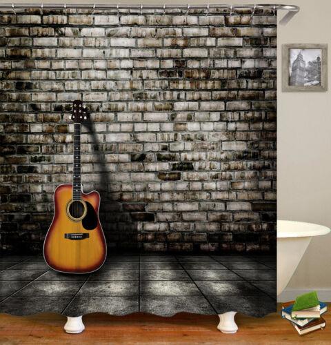 "71/""Guitar /& Wall Waterproof Bathroom Shower Curtain Liner Fabric  //12 Hook Mats"