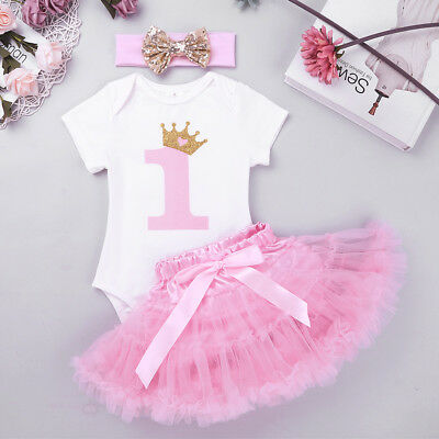 1st Birthday Baby Girl Dress Tutu First Outfits Sets Party Cake Kids Headband