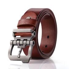 Hagora Men 35 mm Wide Genuine Leather Double Stitched Gunmetal Buckle Belt