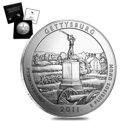 2011-P 5 oz Silver America the Beautiful ATB Gettysburg National Military Park