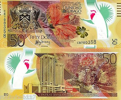 TRINIDAD $50 Banknote World Currency North American Money BILL 2014 Polymer Note