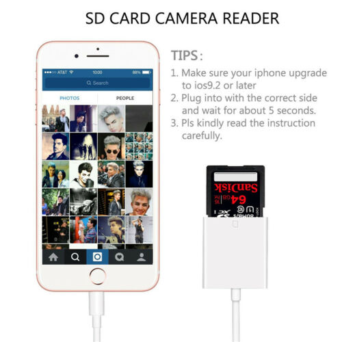 2 in 1 to SD Card Camera Reader Adapter for Apple iPad Pro Mini Air Trail cam