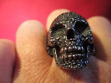 Men's Gothic Skull Flower Biker Stainless Steel Ring US Multiple sizes