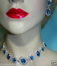 Rhinestone Austrian Crystal Choker Necklace Earring Set Aqua Pageant Bridal Prom