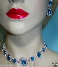 Rhinestone Austrian Crystal Choker Necklace Earring Set Aqua Pageant Bridal Prom