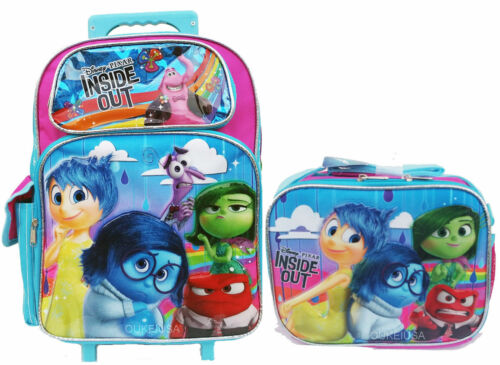 """Licensed NEW Disney Inside Out Large 16/"""" inches Rolling Backpack /& Lunch Box"""