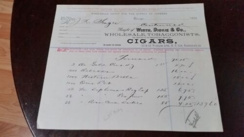 1888 Chicago Illinois Billhead Wirth Dickie /& Co Wholesale Tobacconists Cigars