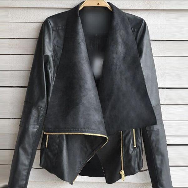 New Vintage Womens Slim Biker Motorcycle Faux Soft Leather Zipper Jacket Coat