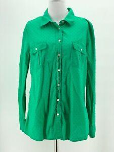 Gap-Women-039-s-Cotton-Green-Long-Sleeve-Fitted-Boyfriend-Shirt-Size-Large