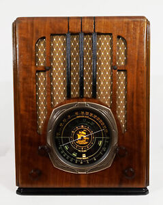 Old Antique Wood Knight Vintage Tube Radio - Restored & Working Deco Tombstone