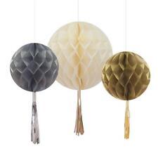 TALKING TABLES 3 Mixed Size Metallic Tasselled Honeycomb Decorations - Wedding