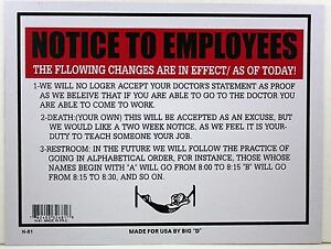 Notice To Employees Sign 9 Quot X12 Quot Funny Work Policy Changes