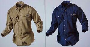 f5bf2ce2749 TECGEN select 5.5 oz Dress Uniform Shirt FLAME Resistant FR in KHAKI ...