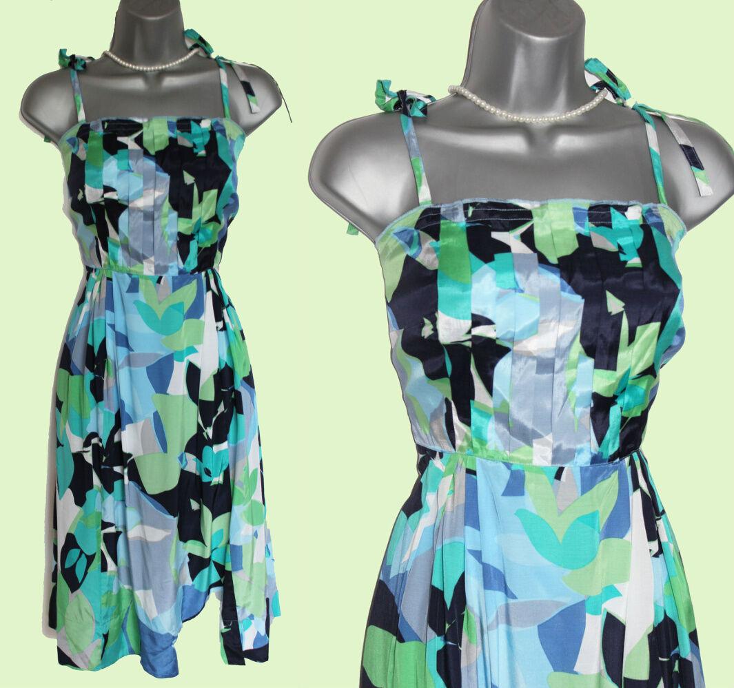 MONSOON Green Grey Purple bluee White Floral Print Straps Prom Dress