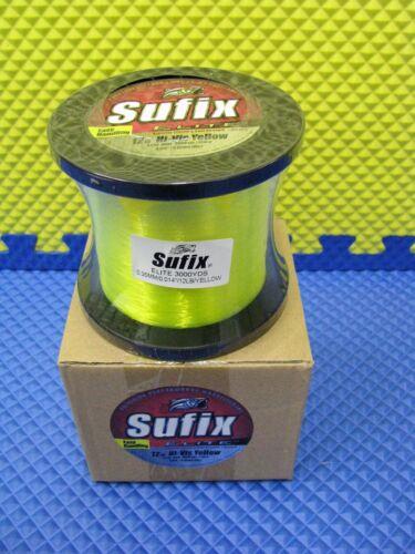Sufix Elite 12 lb Hi-Vis Yellow Fishing Line 3000 yd Spool #661-312Y