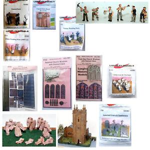 LANGLEY-MODELS-CHURCH-WEDDING-FUNERAL-items-OO-Gauge-painted-unpainted