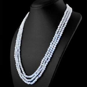 Best Offer 274.50 Cts Natural Blue Flash Moonstone Round Shape Beads Necklace