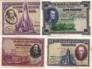 EspaÑa: Lote De 4 Billetes Ii RepÚblica 1925-1928. Bc+/mbc-. Excelentes Piezas. Cpgpunqv-08002441-333400816