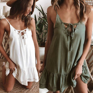 Boho-Womens-Summer-Beach-Strap-Holiday-Sleeveless-Lace-up-Ruffle-Tops-Cami-Dress