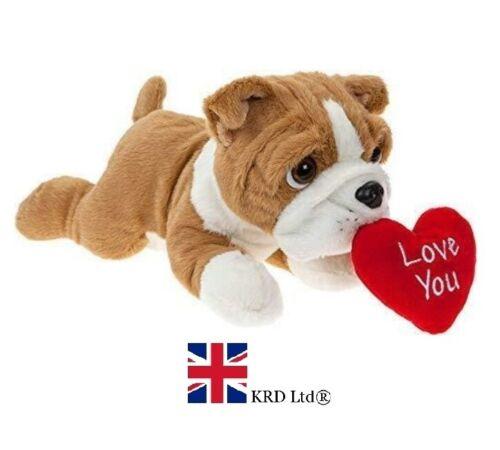 Bulldog Avec Amour Coeur Cadeau St-Valentin Plush Toy Chiot Teddy 30 cm PM441553 UK