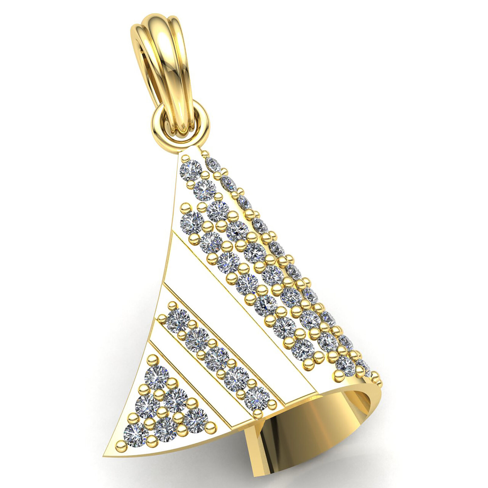 2ctw Genuine Round Cut Diamond Ladies Twisted Pave Cone Pendant 14K gold